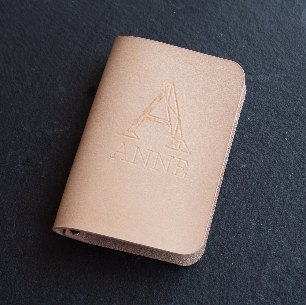 Personalized Minimalist Leather Passport Cover - Geometric Initial