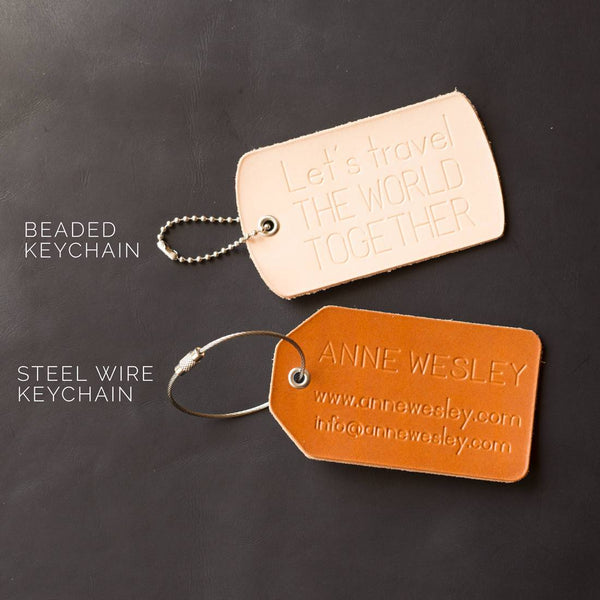 Personalized Salmon Fish Skin Leather Luggage Tag - Reversible