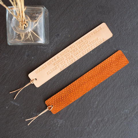 Personalized Salmon Fish Skin Leather Bookmark - Reversible