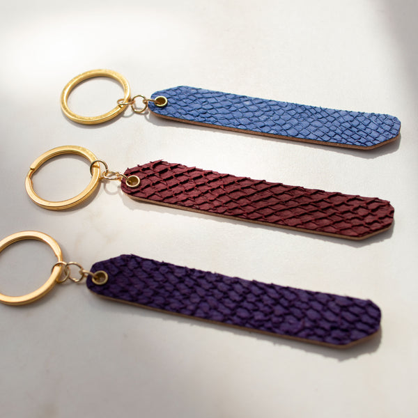 Personalized Salmon Fish Skin Leather Reversible Keychain