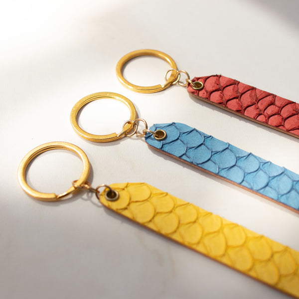 Personalized Fish Skin Leather Reversible Keychain