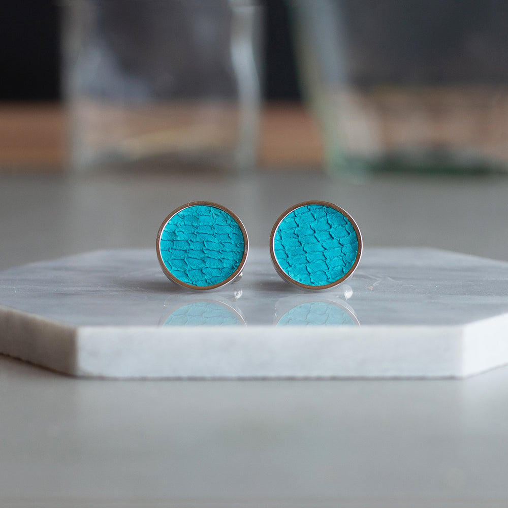 Salmon Fish Skin Leather Cufflinks