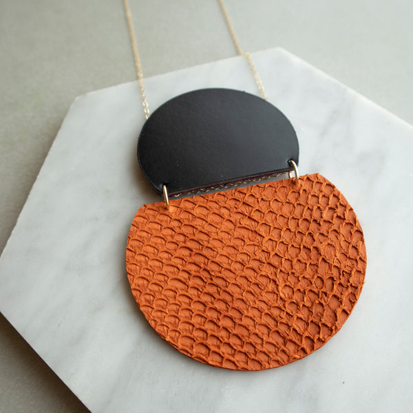 Salmon Fish Skin Leather Reversible Gold Filled Necklace