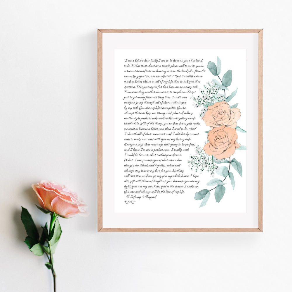 Personalized Wedding Vows / Song Print - Peach Rose