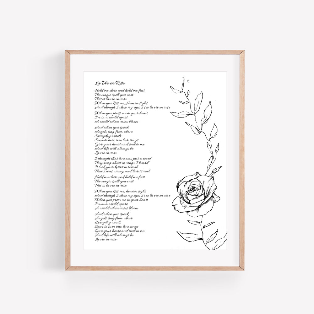 Personalized Wedding Vows / Song Print - Rose
