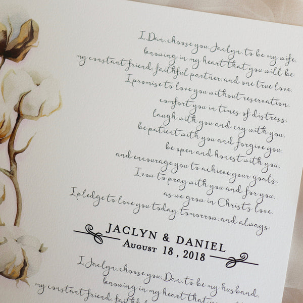 Personalized Wedding Vows / Song Print - Colored Cotton Stems