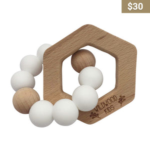 Wooden Hexagon Teething Ring - Earth Interiors