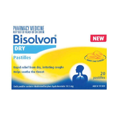Bisolvon Dry Honey Lime Pastilles 20s