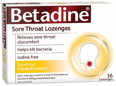 BETADINE Sore Throat Lozenges Honey & Lemon 36