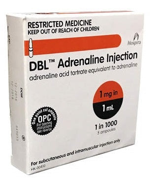 Adrenaline Injection Ampoules 1:1000 1mg/mL 1mL x 5