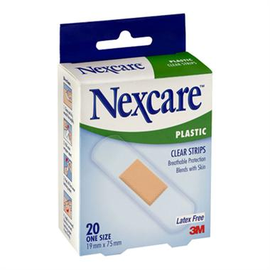 Nexcare Clear Plastic Strips 20pk