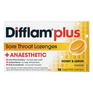 DIFFLAM Lozenges Plus Anaestic Honey Lemon 16s