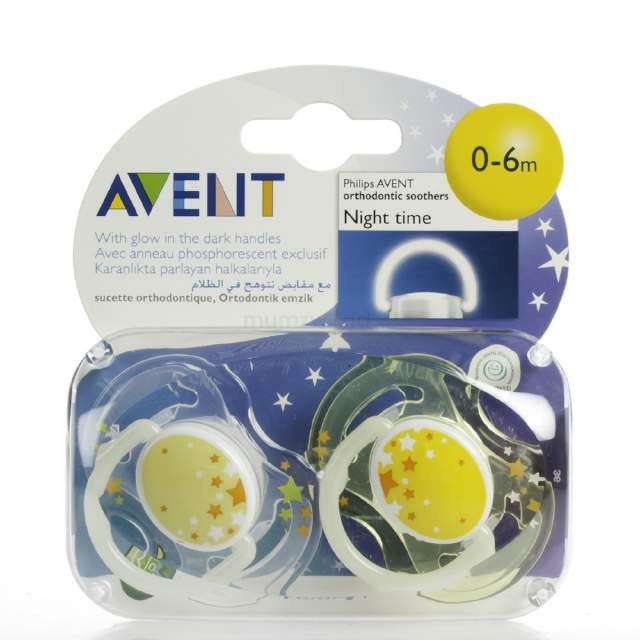 AVENT 0-6m Soother Night 2pk 4065