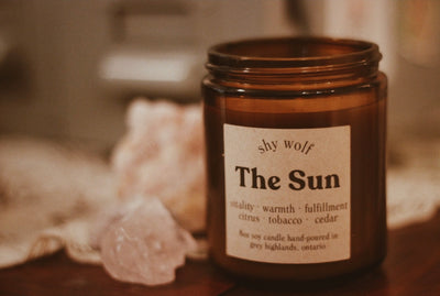 crystal vault cobalt spirituality eco-friendly sustainable products support local makers shy wolf the sun vitality warmth fulfillment citrus tobacco cedar invigorating scent represents sun's elements universe coming together agreeing