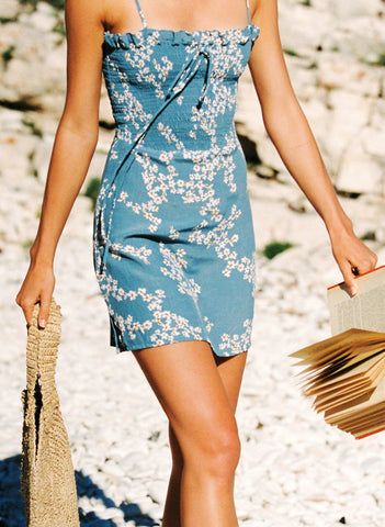 CAP ESTEL FLORAL PRINT - CORNFLOWER BLUE - MARNI SHIRRED DRESS