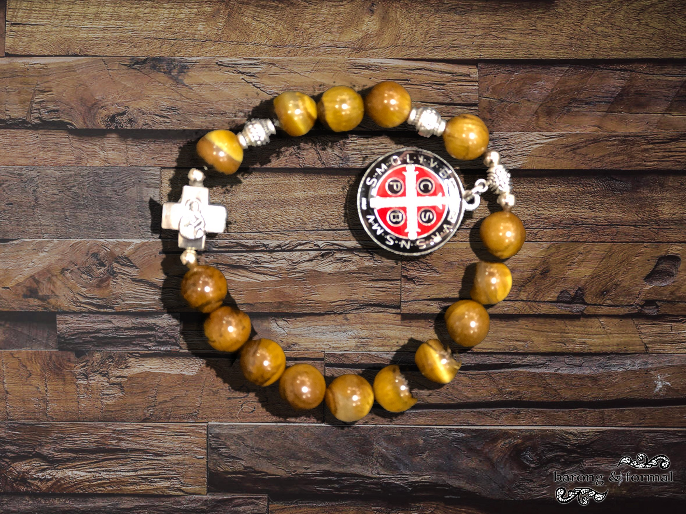 Tiger eye elastic rosary bracelet with St Benedict medal