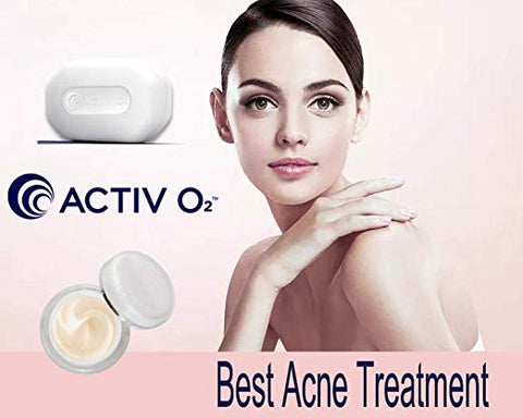 ACTIVO2 Clearing Acne Solution Lotion Cream Soap Bar Reduces Blemishes Kit 3 PC