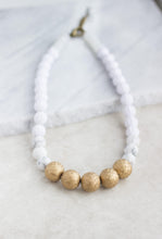 Load image into Gallery viewer, White & Gold Statement Necklace