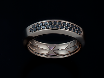Fusion Men's Rose Gold & Black Diamond Band