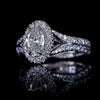 Oval Diamond Halo Split Shank 18k white gold