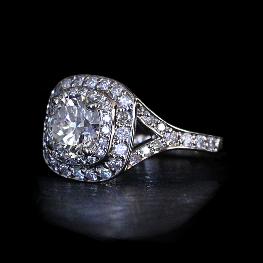 Diamond Double Halo Featuring Split Shank Ring