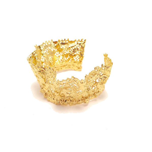Gold lace cuff frou frou
