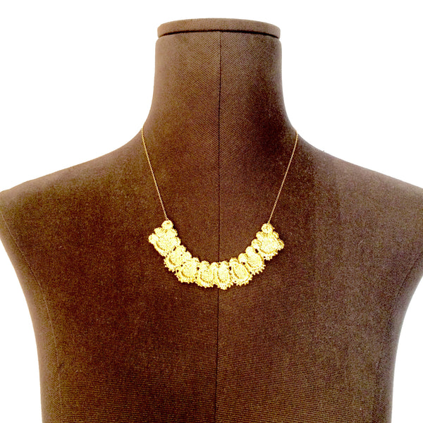 Gold lace necklace large collar shape