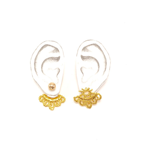 Reversible mini Gold lace studs
