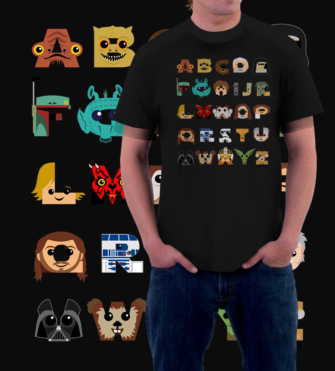 A-Z STAR WARS-T-Shirt-Star Wars-Shirt Battle