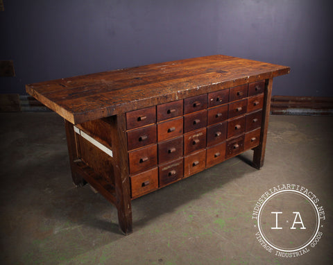 Vintage Industrial 48 Drawer Butcher Block Table Kitchen Island