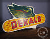Vintage Double Sided DeKalb Winged Ear Wooden Advertising Sign 1985