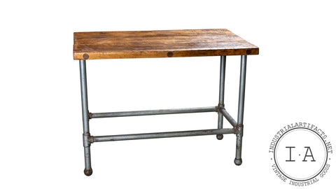 Vintage Industrial Butcher Block Island Table