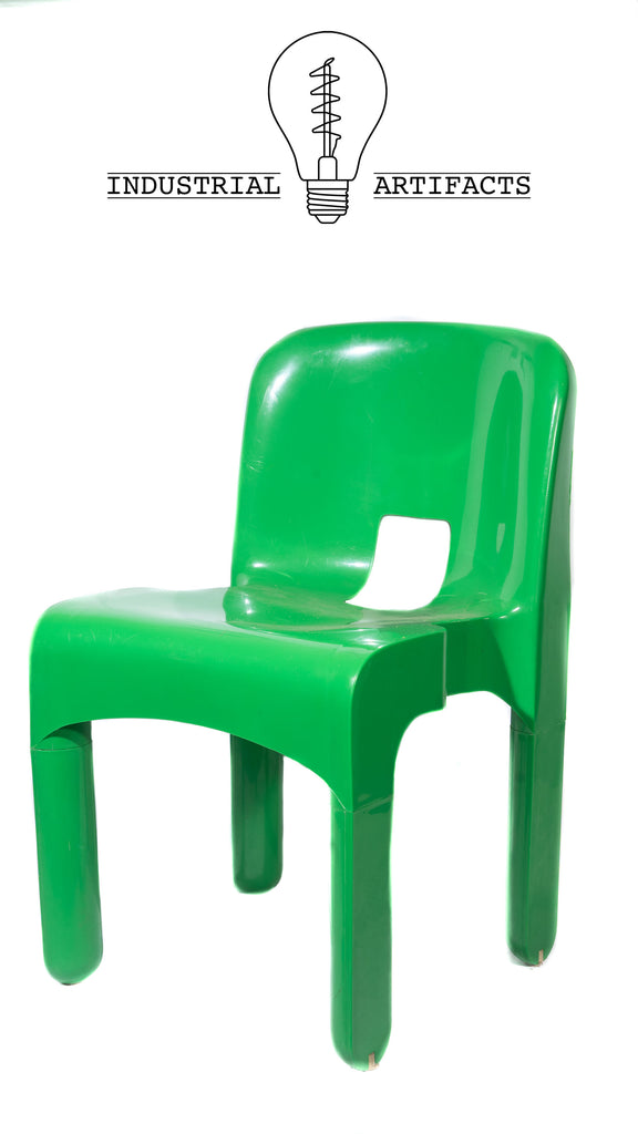 Set Of Four Joe Colombo Kartell MCM Chairs in Green