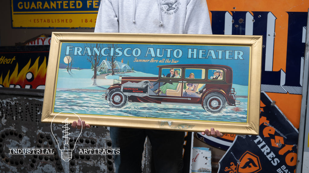 Antique Self Framed Tin Litho Francisco Auto Heater 1920s Painted Sign
