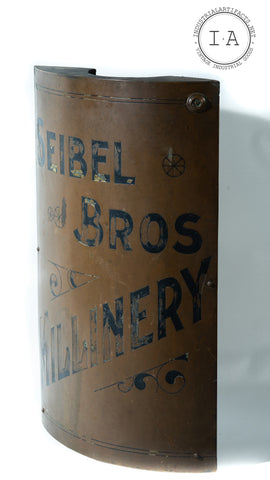 Antique Seibel Bros Millinery Corner Trade Sign