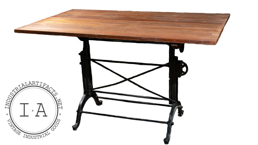 Restored Antique Industrial Drafting Table