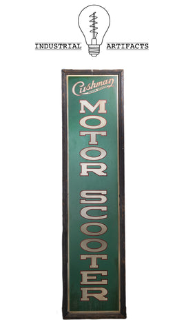 Antique Cushman Motor Scooter Framed Sign