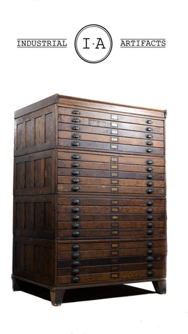 Antique 20 Drawer Flat File Map Cabinet By Hamilton