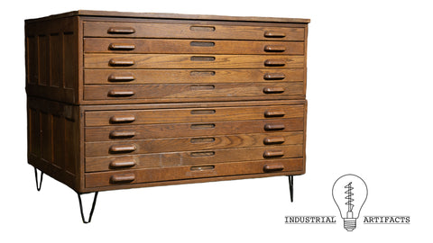 Hamilton 10 Drawer Flat File With Hairpin Legs
