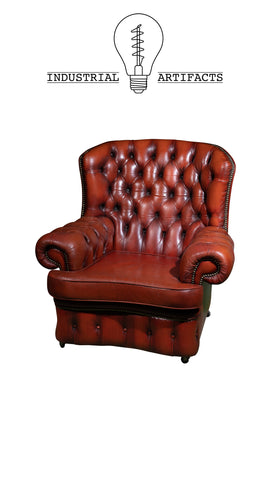Vintage Tufted Chair in Mandarin Red