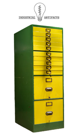 Mid Century Industrial File Cabinet in Green and Yellow