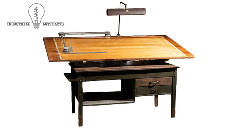 Industrial Antique Bruning Drafting Table With Floating Lamp And Drafting Machine