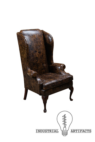 Antique Mottled Brown Leather Highback Armchair