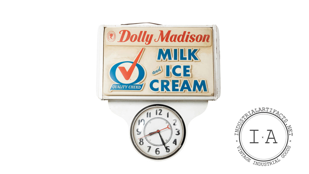 Antique 1950s Dolly Madison Dairy Lighted Advertising Clock