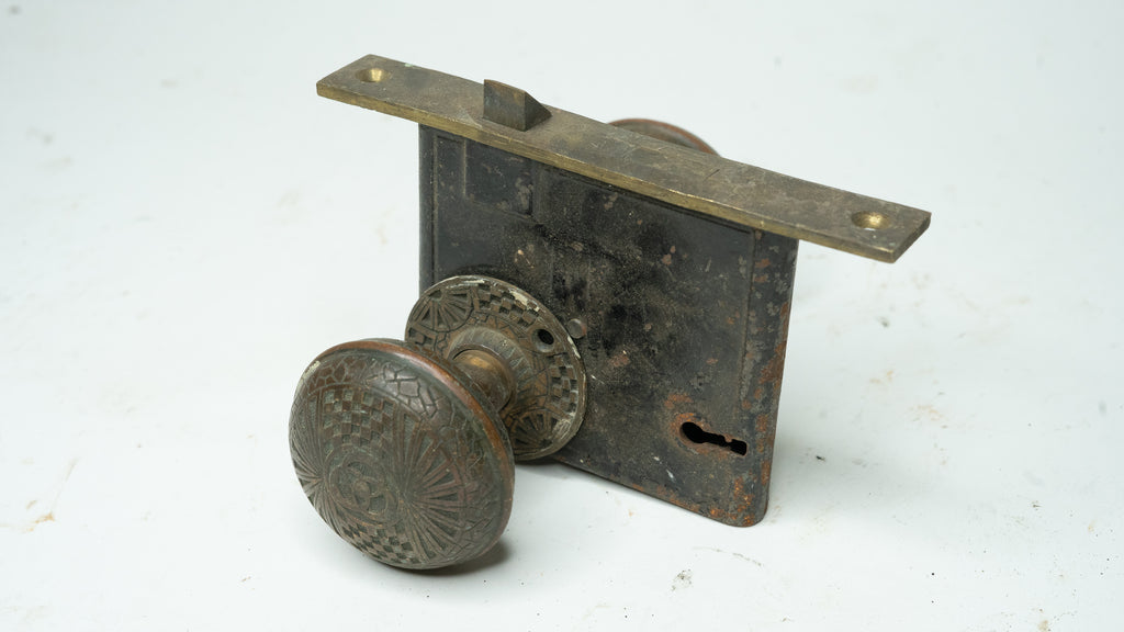 Antique Ornate Late 1800s Door Knob And Latch Set With Patina