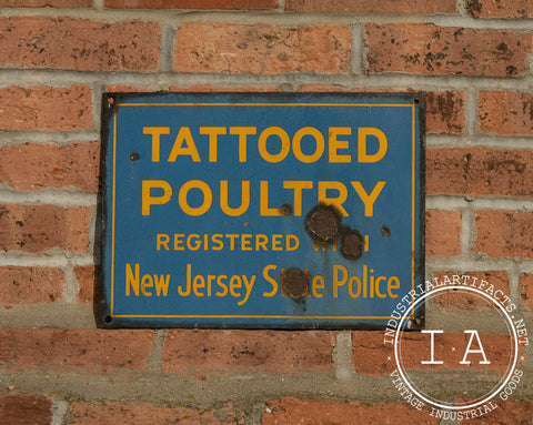 Porcelain Tattooed Poultry Advertising Sign