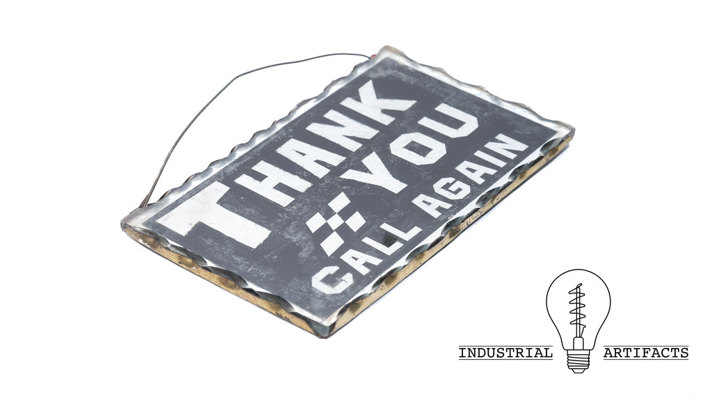 Antique General Store Scalloped Glass Thank You Sign