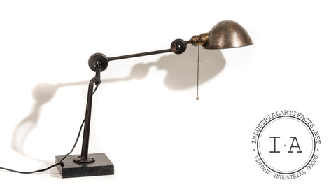 Antique Articulated Edon Task Lamp With Base