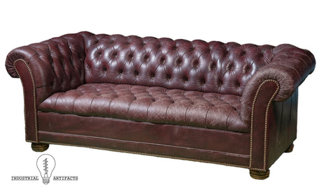 Antique Tufted Leather Chesterfield Sofa in Oxblood