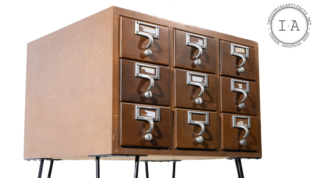 Vintage Hairpin Leg Card Catalogue Side Table Set